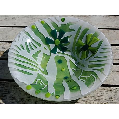 Grøn skål med serigrafi