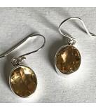 Citrin øreringe i sølv